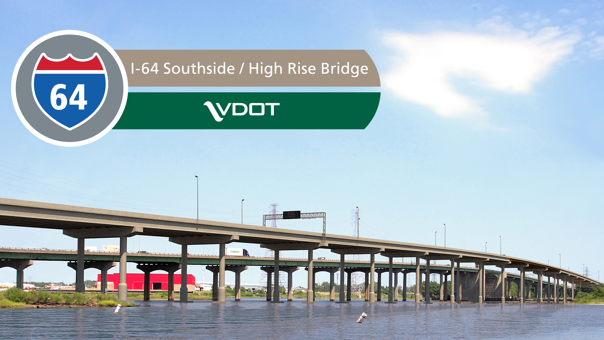 I-64 Southside - High Rise Bridge :: About the Project on rt 66 on map, interstate 5 on map, pa turnpike on map, i-5 on map,